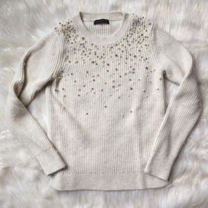 Banana Republic White Beaded Sweater